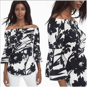 WHBM black & white floral bell sleeve top, size XS